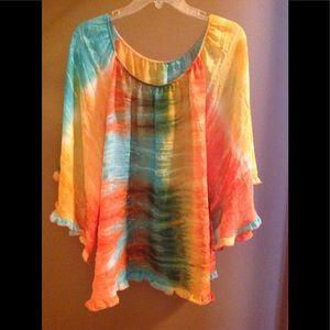 Tops - Vibrant Color Full Sleeve, Semi-Sheer Top,  XL